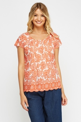 Embellished Printed Top