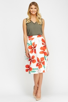 Flower Print Sateen Skater Skirt
