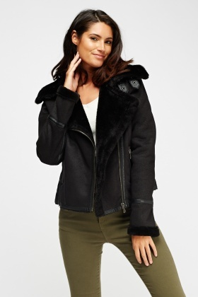 Fur Trim Contrast Biker Jacket