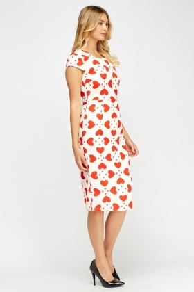 Heart Printed Textured Midi Dress