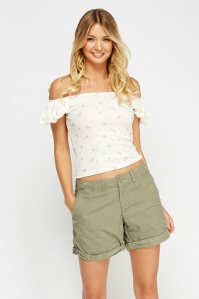 Ivory Floral Ribbed Off Shoulder Top