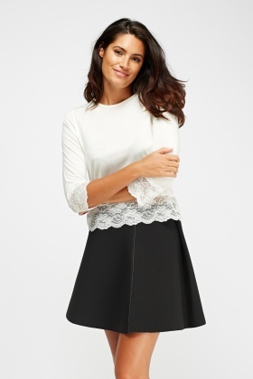 Lace Trim Basic Top