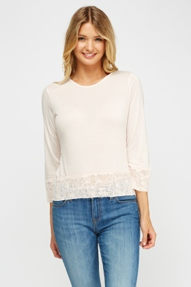 Lace Trim Light Pink Top