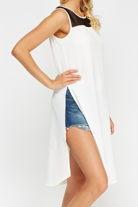 Mesh Insert Off White Dress