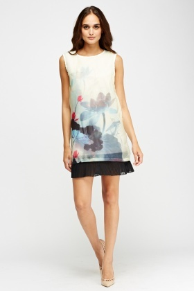 Mesh Printed Pleated Hem Dress