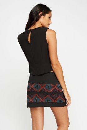 Mixed Print Black Mini Skirt