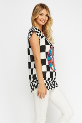 Mixed Print Ruched Hem Top