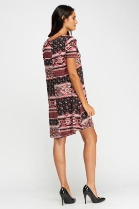 Mixed Print Swing Dress