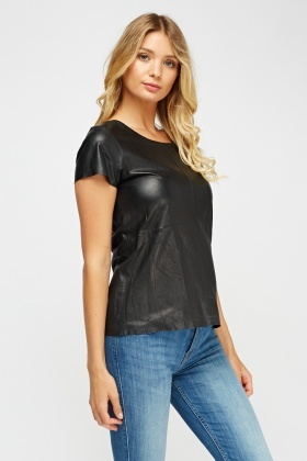 Muubaa Black Leather Cap Sleeve Top