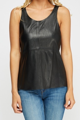 Muubaa Leather Zip Back Top