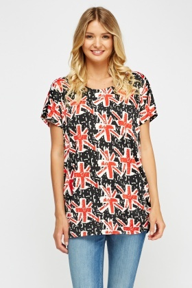 Printed Ruched Side Top