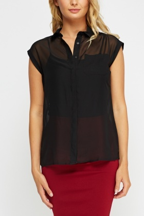Sheer Black Sleeveless Blouse