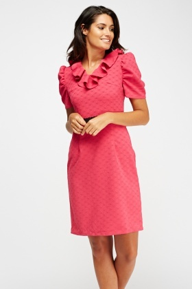 Textured Frilled Dress