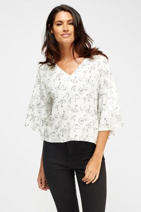 Umbrella Print Flare Sleeve Top