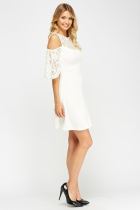 White Textured Lace Insert Dress