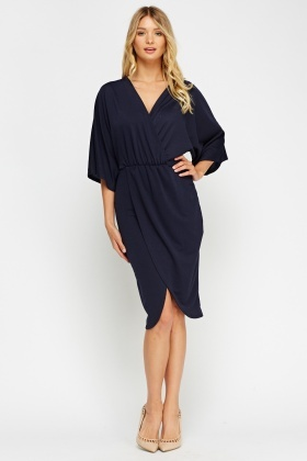Wrapped Flare Sleeve Dress
