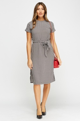Check Grid Midi Dress