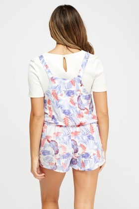 Floral Print Pinafore Playsuit