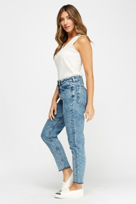 High Waist Washed Denim Jeans