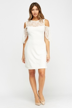 Lace Insert Cold Shoulder White Dress