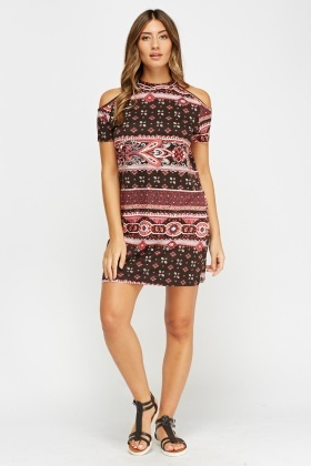 Mixed Print Cold Shoulder Dress