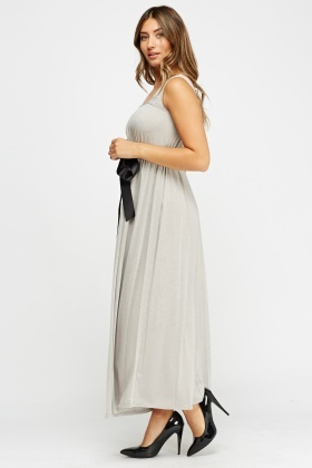Tie Up Bust Basic Maxi Dress