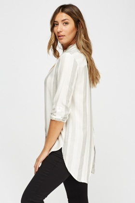Wrapped Back Striped Blouse