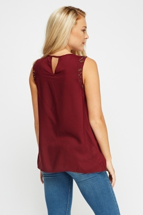 Beaded Wine Sleeveless Top