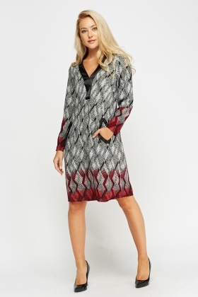 Contrast Printed Tunic Dress