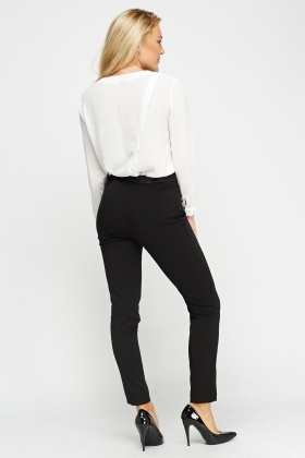 Contrast Trim Black Trousers