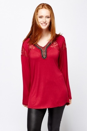 Lace Insert Beaded Neck Top
