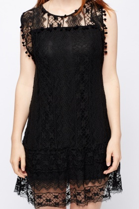 Lace Overlay Slip On Dress