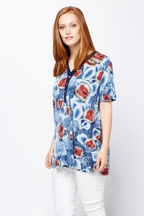 Mix Denim Print Contrast Top