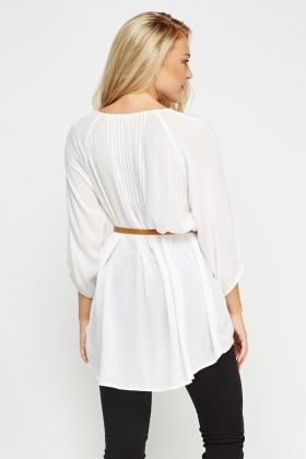 Ruffled Tie Up Neck Top