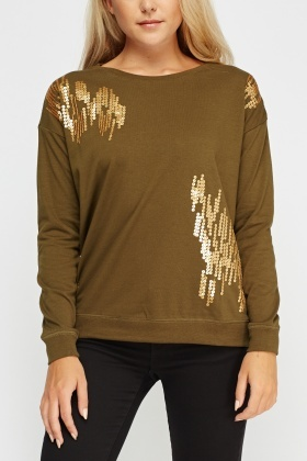 Sequin Olive Jumper
