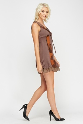 Contrast Sleeveless Casual Dress