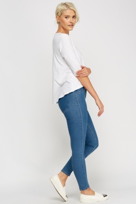 Denim Blue Skinny Ankle Jeans
