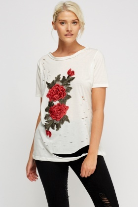 Distressed 3D Appliqué T-Shirt