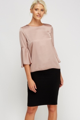 Dusty Pink Flare Sleeve Silky Top