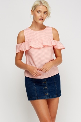 Frilled Check Grid Top