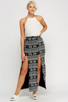 Front Slit Printed Maxi Skirt