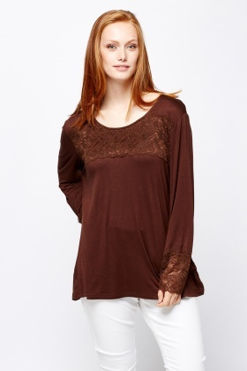 Lace Insert Long Sleeve Top