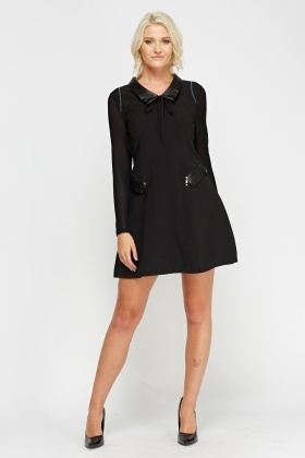 Mesh Sleeve Collar Dress