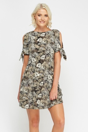 Mix Print Cold Shoulder Dress