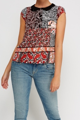 Printed Collar Short Sleeve Top