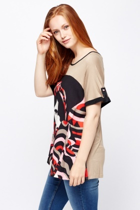 Printed Front Contrast Top