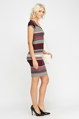 Zig Zag Printed Bodycon Dress