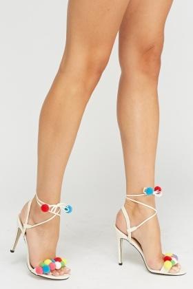 Pom Pom Tie Up Heels - Just £5 fd582b5cd4aa