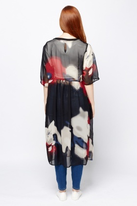 Abstract Printed Sheer Cover Up