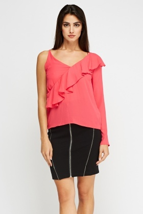 Asymmetric Frilled Fuchsia Top